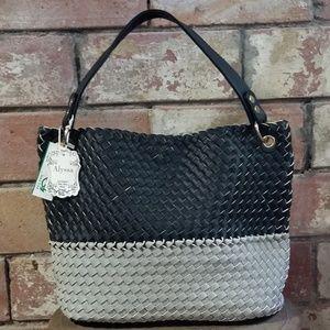NWT Large Alyssa vegan handbag Tote gray & black